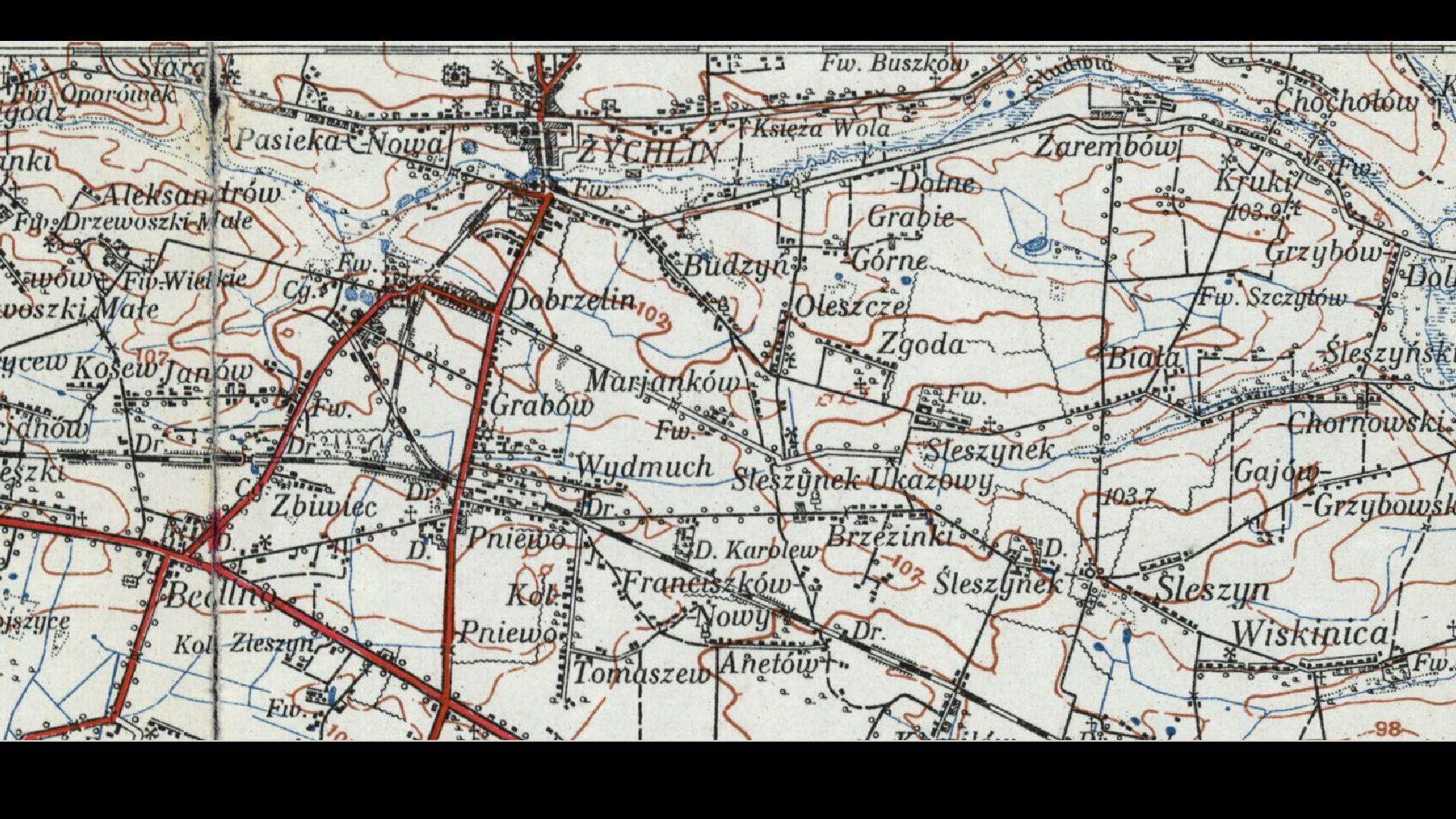 Mapa  1924 r..