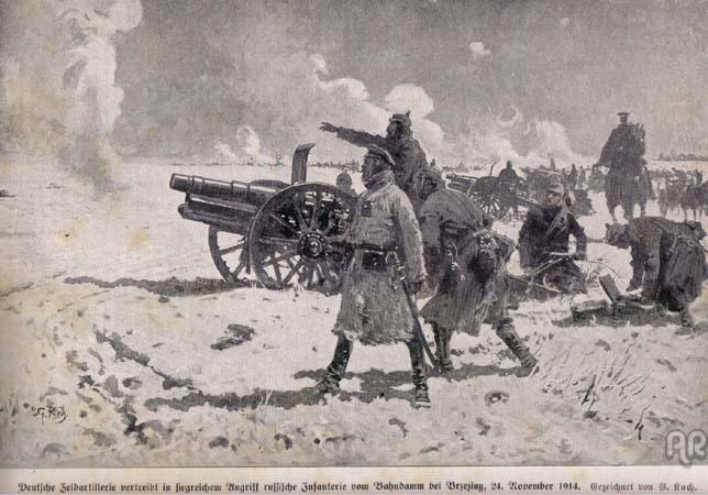 Niemiecka artyleria pod Brzezinami - 24 listopad 1914 r. - mal. L. Koch