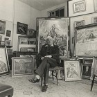 Marian Kratochwil w pracowni w Chelsea