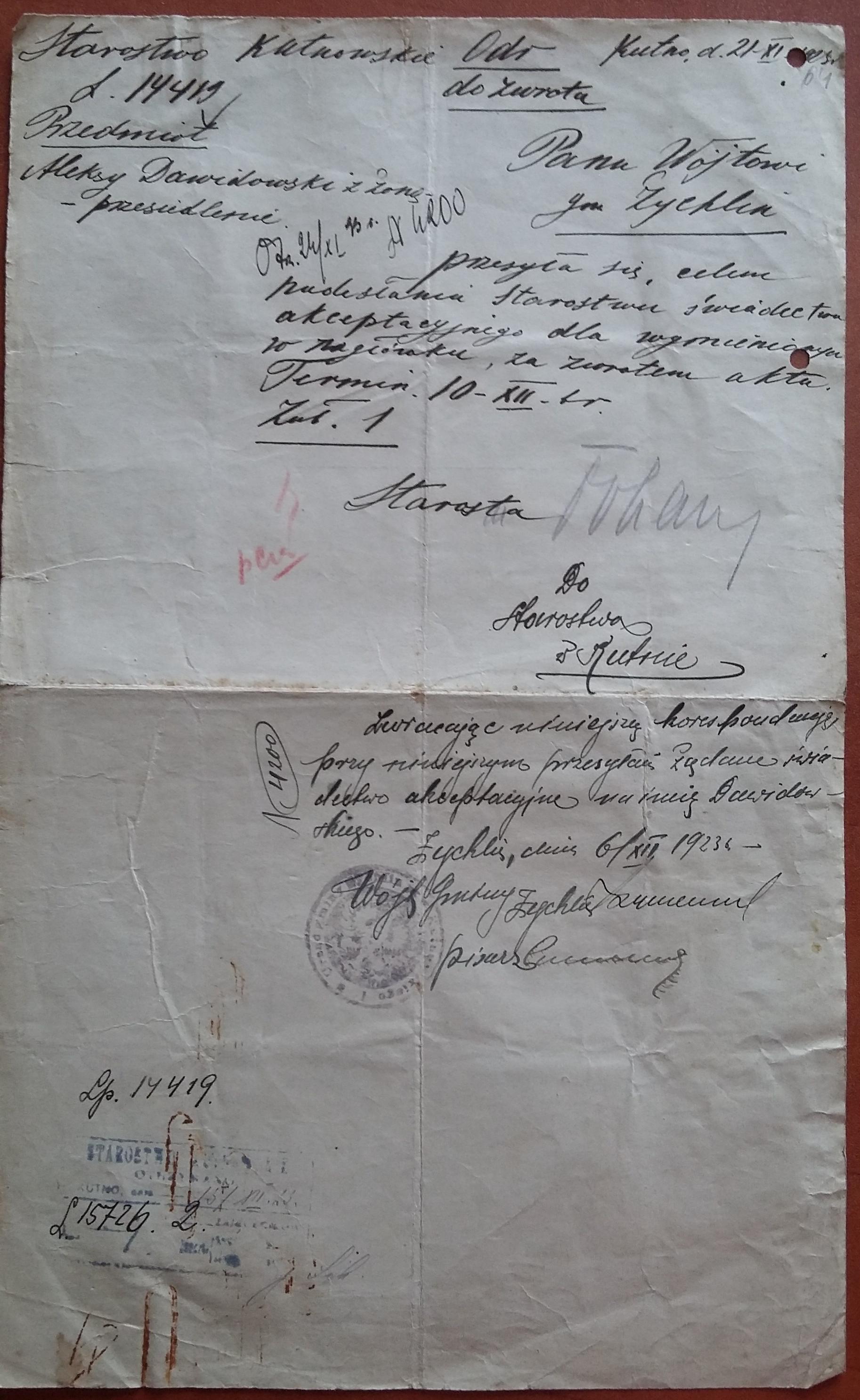 21 XI 1923 r.